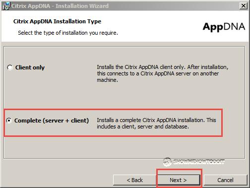 AppDNA 7 Installation Component Option
