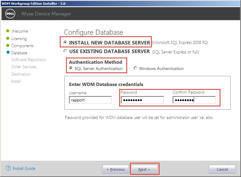 Wyse-Device-Manager-07-Configure-Database