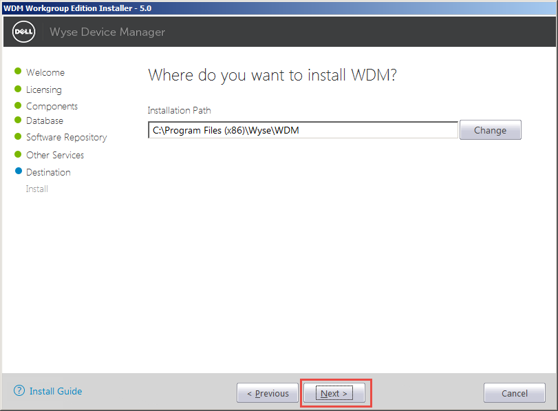 Wyse-Device-Manager-10-Install-Directory