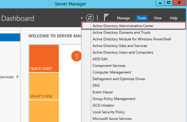 Launch Active Directory Administrative Center