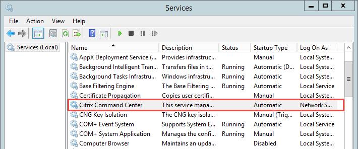 Stop Citrix Command Center Service