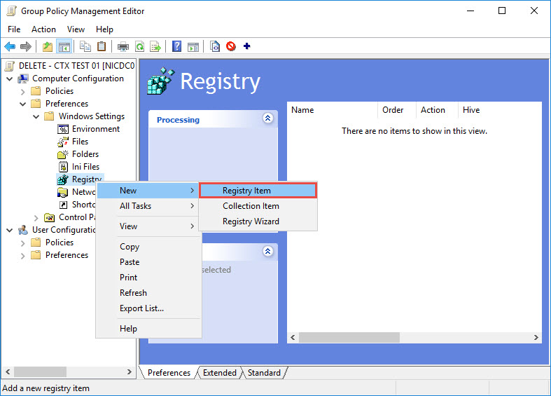 Group Policy Management New Registry