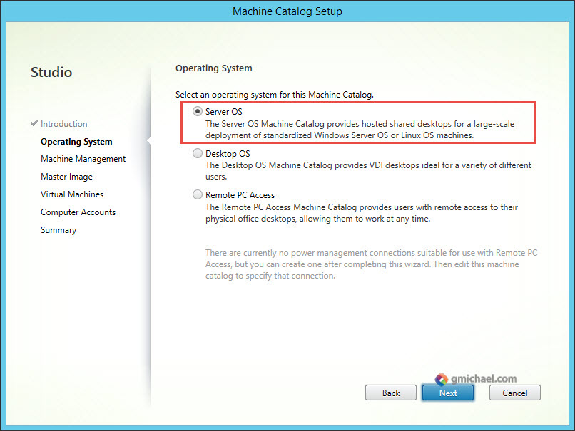 Citrix Machine Catalog Operating System for Linux OS