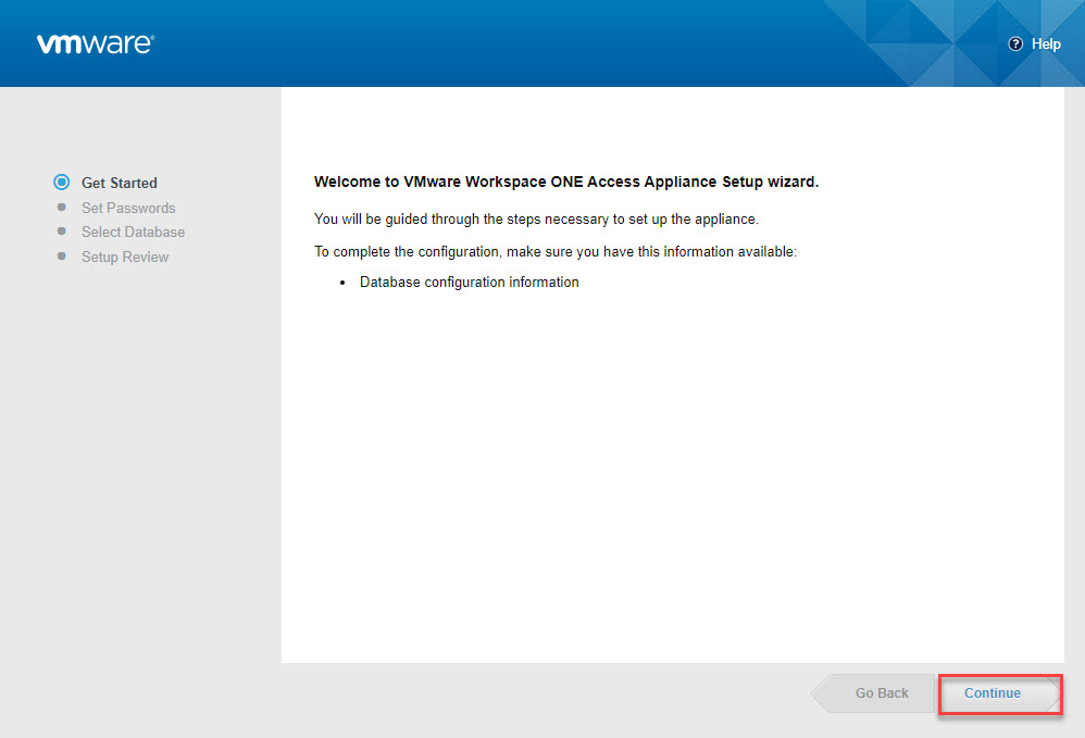 Setup Wizard Welcome Page